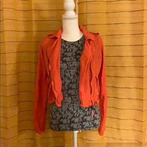 Lucky Brand Orange Linen Crop Jacket XS